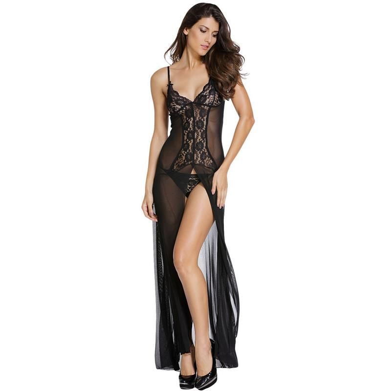 2016 New Bride To Be Woman Sexy Lingeries See Through Transparent Lace Dress Sleepwear Sexy Feminine Costume Babydolls LC6143(China (Mainland))