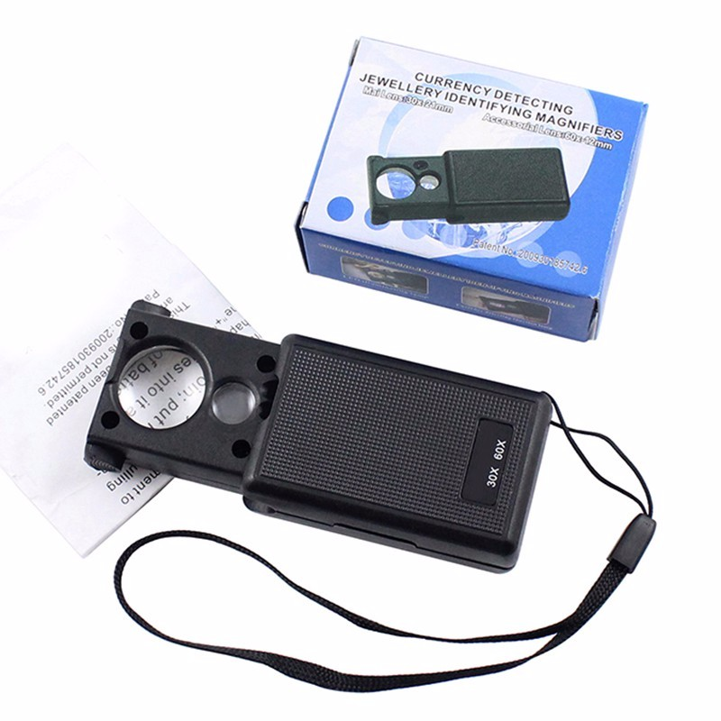 1pcs 30X 60X LED Mini Pocket Magnifying Lupa Hand Magnifier Portable Jeweler Microscope Currency UV Detector Len