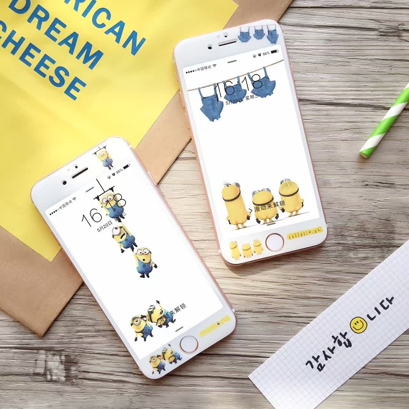 Hot Sale Rushed Tempered Film Anti knock Cute Cartoon Dispicable Me Yellow Minions 3d font b