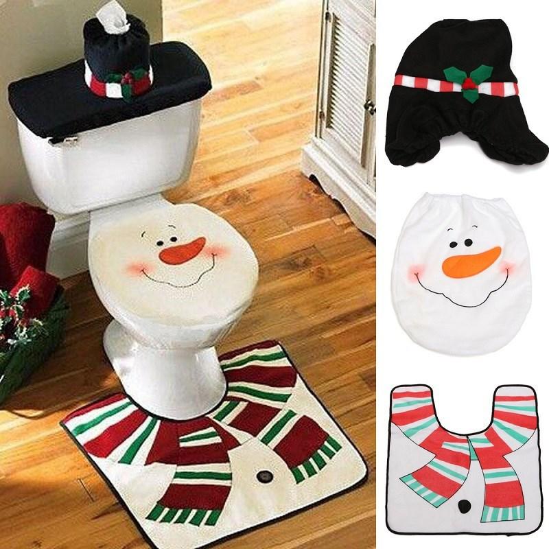 XMAS Snowman Toilet Seat Cover + Rug Bathroom Mat Set Christmas Decorations Adornos Navidad 2015 - Yiwu Jiusheng Super Store store