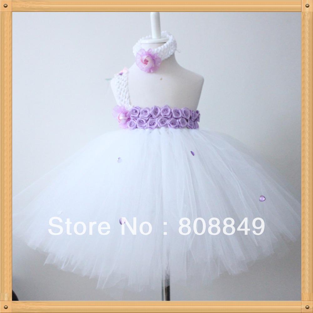 long white tutu dress for girls birthday party fluffy dress beautiful tutus for kids toddler pricess dress 1set free shipping(China (Mainland))