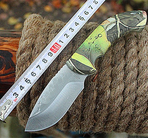 Buy Hot Buck!New Straight Knife 7Cr15Mov 58HRC Blade ABS Camouflage Handle Camping Hunting Outoor Survival Knife Free Shipping cheap