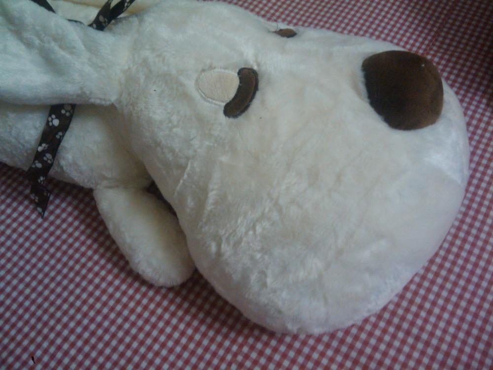 White Dog Toy Fashion Plush Fur Stuff Cute Smiling Big Head Sleeping Dog Ling Ear Children Toy(China (Mainland))