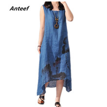 Buy new fashion summer style cotton linen plus size vintage print women casual loose long dress vestido femininos party 2017 dresses for $8.99 in AliExpress store