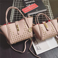 2016 New Fashion Women Messenger Bags PU Leather Handbag Litchistria Rivet Ladies Shoulder Bag Trapaze Women