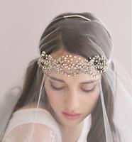 popular bride headwear gold plated crystal bridal  head band wedding hair jewelry accessory