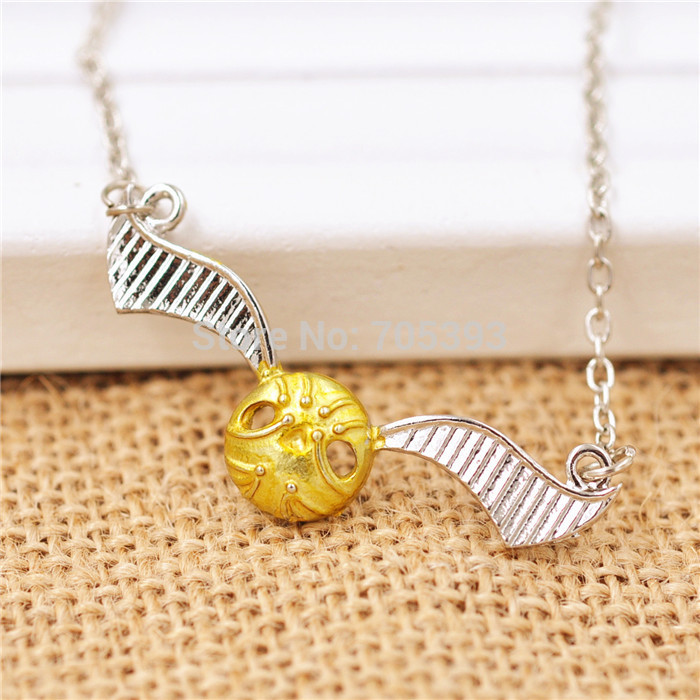 Movie Theme Jewelry Angel Wing Thin Necklaces Golden Snitch Quidditch Necklace(China (Mainland))