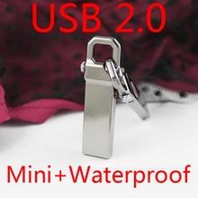 Genuine 8GB 16GB 32GB USB Flash Drive 64GB 128GB Pen Driver USB Memory Stick Flash Card 1TB Metal Little Hook Mini Key Gift 2.0