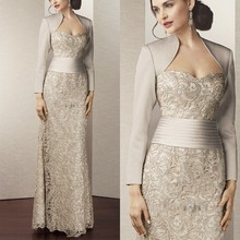 Hot Sale Lace Mother of the Bride Dresses With Jacket 2015 Floor Length Pleated Brides Mother Dresses For Wedding Sweetheart(China (Mainland))