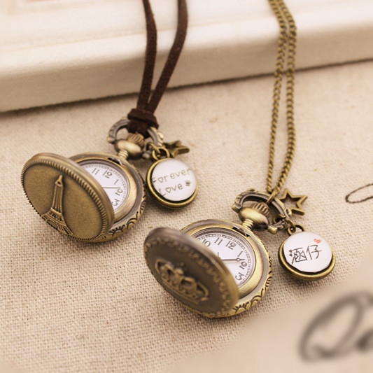 Vintage pocket watch lovers birthday lettering graduation gift double faced long necklace