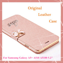 Original Wallet PU Leather Luxury Case For Samsung Galaxy A5 2016 A5+ A510 A5100 Phone Case + Screen protection(Not for A5 2015)(China (Mainland))