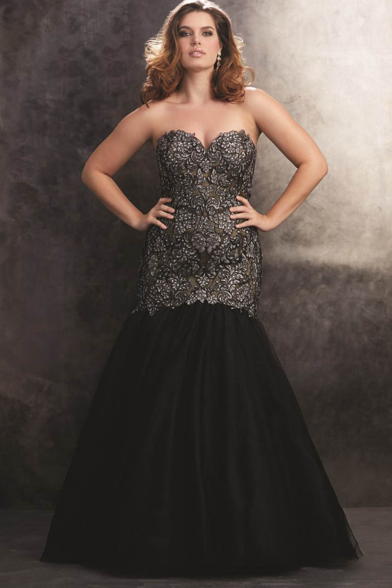 Sexy black plus size mermaid prom dresses luxury beaded for Plus size dresses weddings and proms