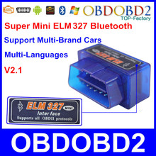Top Selling Mini ELM327 OBD2 OBDII ELM 327 Bluetooth V2.1 Diagnostic Scanner Tool For Multi Brand Cars Android Symbian Windows(China (Mainland))