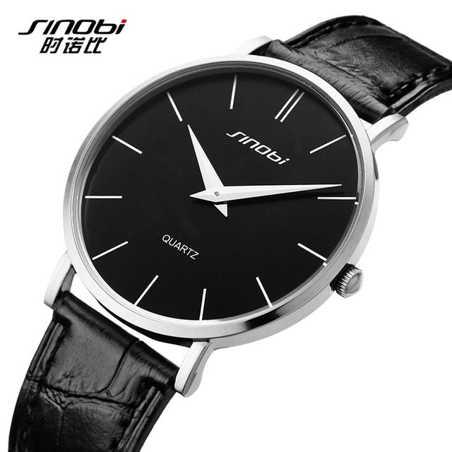 2016 ультратонкий классический свободного покроя кварцевые наручные часы мужчины Busness япония SINOBI марка кожа аналоговый Relojes хомбре подарок продажа