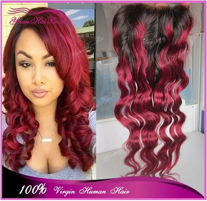 Best 7a grade 1b/99j# virgin brazilian hair loose wave two tone colore ombre burgundy lace closure three parting free shipping<br><br>Aliexpress