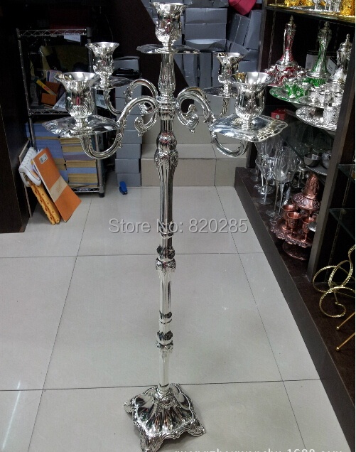Wholesale price silver centerpiece candelabra, enviromental zinc alloy material 83cm wedding 5-arms candle holder