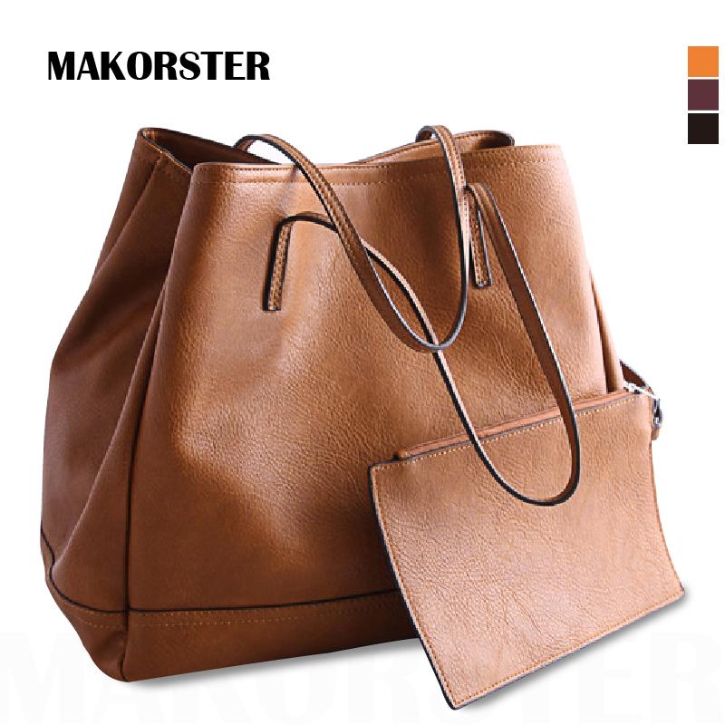 MAKORSTER Handbag High Capacity Women's Fashionable totes Solid Soft Top PU Leather Composite Bag luxury designer for Girl(China (Mainland))