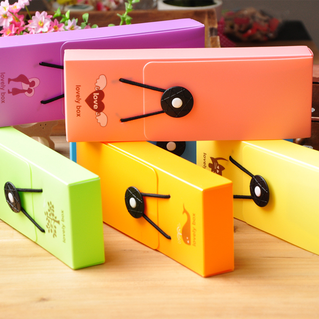 Stationery fashion fresh hasp pencil box storage box