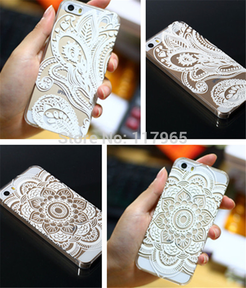 White Floral Flower Henna Clear Plastic Case Cover iPhone 4 4S/5 5S/6 6S Plus EC425 EC426 EC427 EC797 EC459 EC490 EC487 - xycharm store