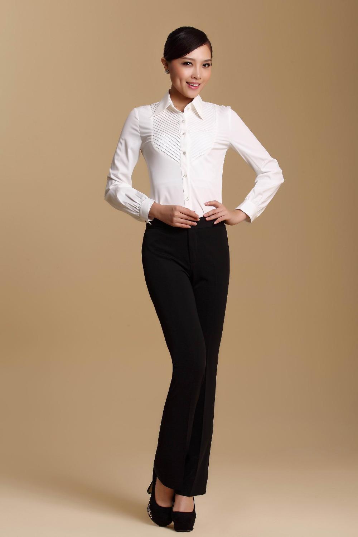 2014 new fashion office lady sets white shirt black for White shirt black pants