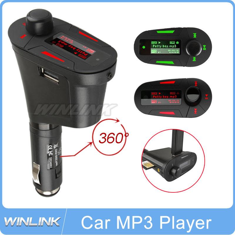 Car Kit MP3 Player Wireless FM Transmitter Modulator LCD USB SD MMC Car MP3 FM Pen Drive Red Light LCD Free shipping(China (Mainland))