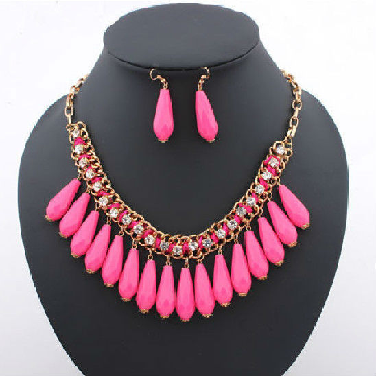 Free Shipping 2014 Hot Sale Colorful Water Drop Pendant Maxi Necklace Gold Chain Fashion Jewelry For Women N491
