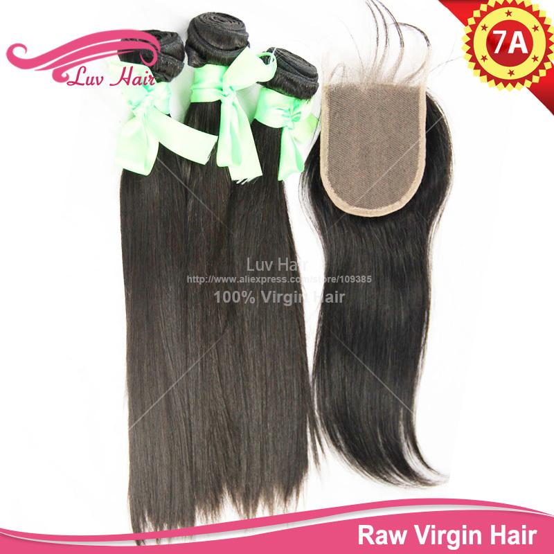 Hair Closure Bundle 100% Unprocessed Virgin Straight eurasian virgin hair closure  -  Luv Hair store