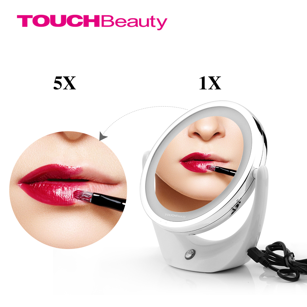 TOUCHBeauty Led Cosmetic Mirror with Light 1/5X, 360 Rotary, USB rechargeable Makeup Mirror TB-1276(China (Mainland))