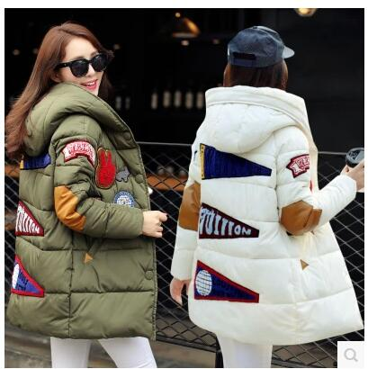 2015 new fashion women army green white duck jacket lo zipper full loose warm coat wateproof Double hat Korean hot pocket