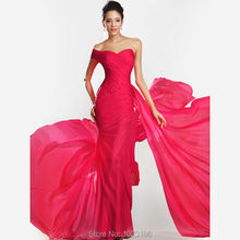 High Quality Cheap Price One Shoulder Chiffon Red Elegant Long Evening Dress 2015 Woman Party Dress(China (Mainland))