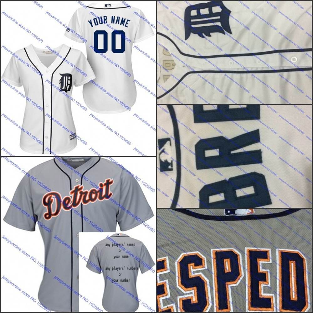 Custom Top quality Detroit Tigers Personalized Baseball Jersey 2015 women Cutomized Embroidery 100% Stitched Shirt(China (Mainland))