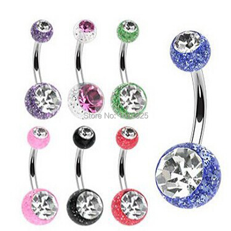 Alluring Steel Rhinestone Belly Navel Bar Ring Barbell Sequins Ball Body Piercing Jewelry(China (Mainland))