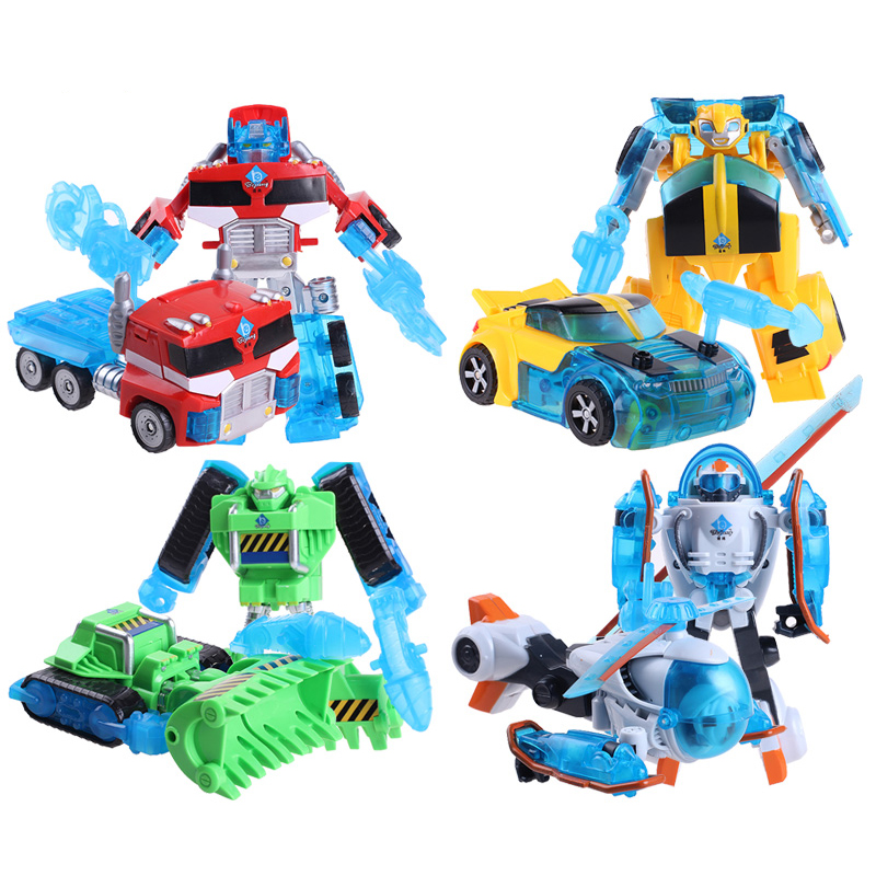 Free Shipping Rescue Bots Deformation Robot Action Figures Bumblebee/Optimus/Bulldozer/Heliocpter Robots Transformation toy(China (Mainland))