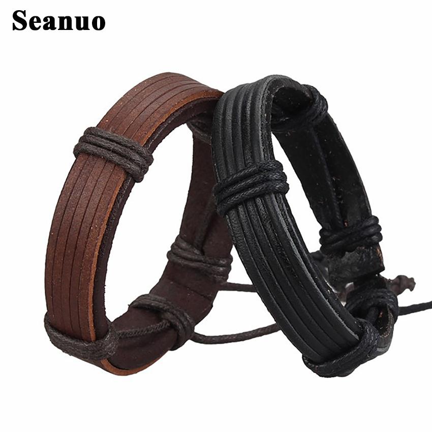 Seanuo Unisex real genuine leather cuff bangle bracelet for men fashion punk rock handmade women charm wristband wrap bracelets(China (Mainland))