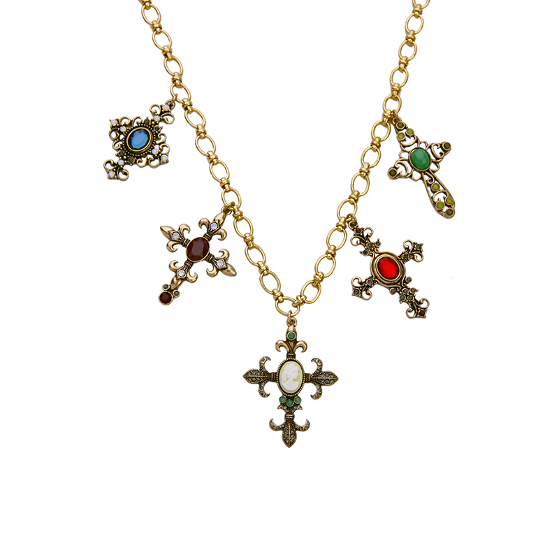 Contemporary Women Jewelry Chain Choker Necklace Colorful Stone Cross Necklace Pendant For Gifts wholesale(China (Mainland))