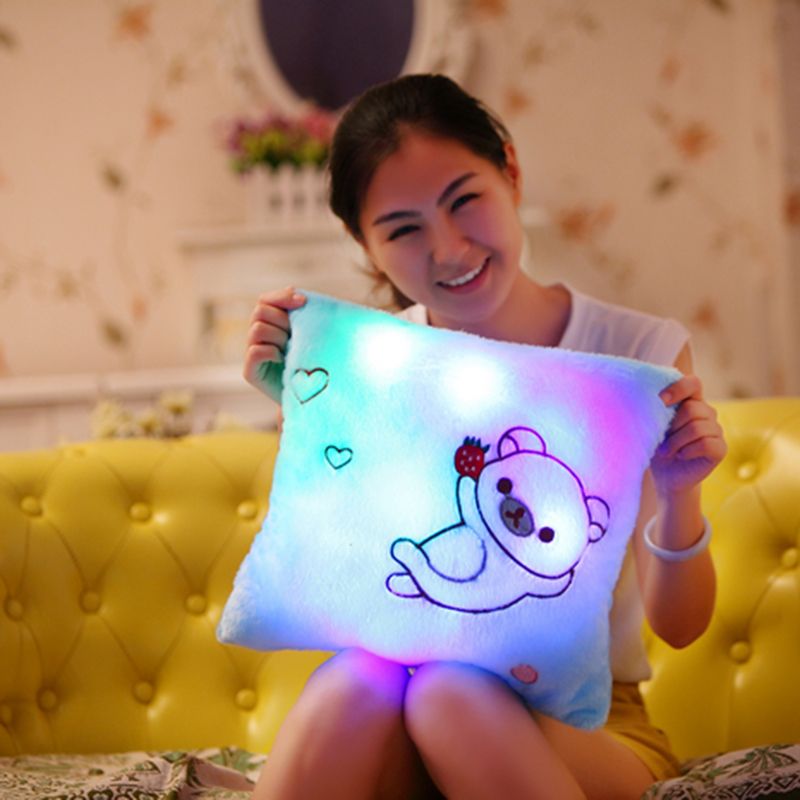 Square Bear Romantic Confession Gift With Light And Music Baterry Powered Decorative Shining Cushions Sound Lighting Cushions(China (Mainland))