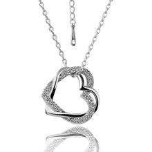 (Min $10 mix orders) Wholesale Fashion Jewelry 18K White Gold GP Crystal Romantic Love Heart Shaped Pendant+Necklace WN006(China (Mainland))