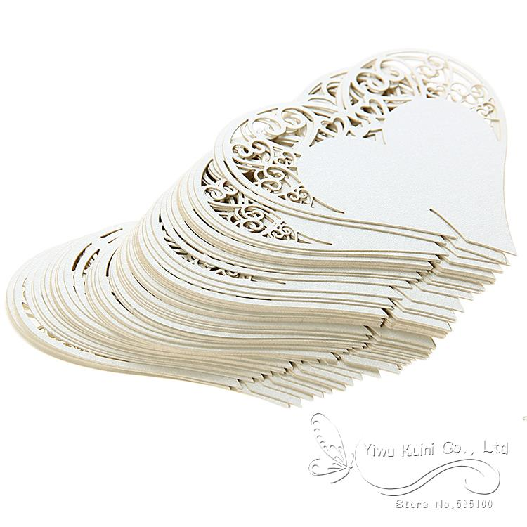 Wedding Table Decoration Place Cards Wedding Party Decoration Laser Cut Heart Floral Wine Glass Place Cards