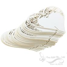 Wedding Decorations 50 x Ivory Name Place Card Laser Cut Heart Shape for Wine Glass Wedding Party