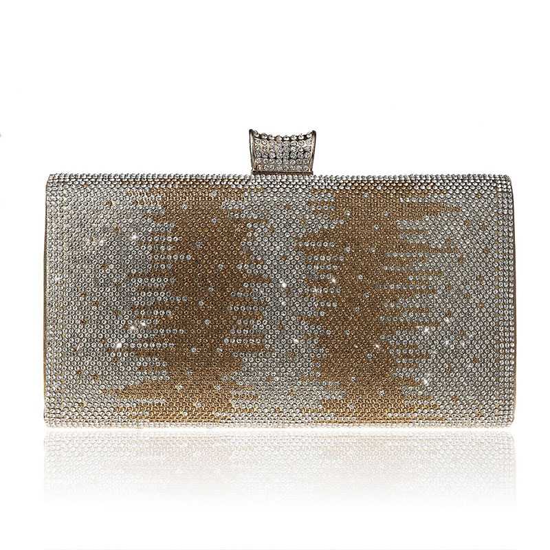 2016 Luxury Crystals Women Evening Bag Bling Rhinestone Clutch Gold Silver Black Color Long Purses And Handbags With Chain 1071t