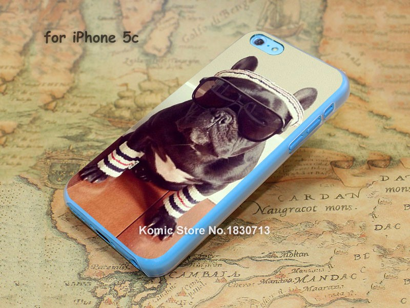 animal french bulldog Pattern hard transparent clear Cover Case for iPhone 4 4s 5 5s 5c 6 6s 6 Plus