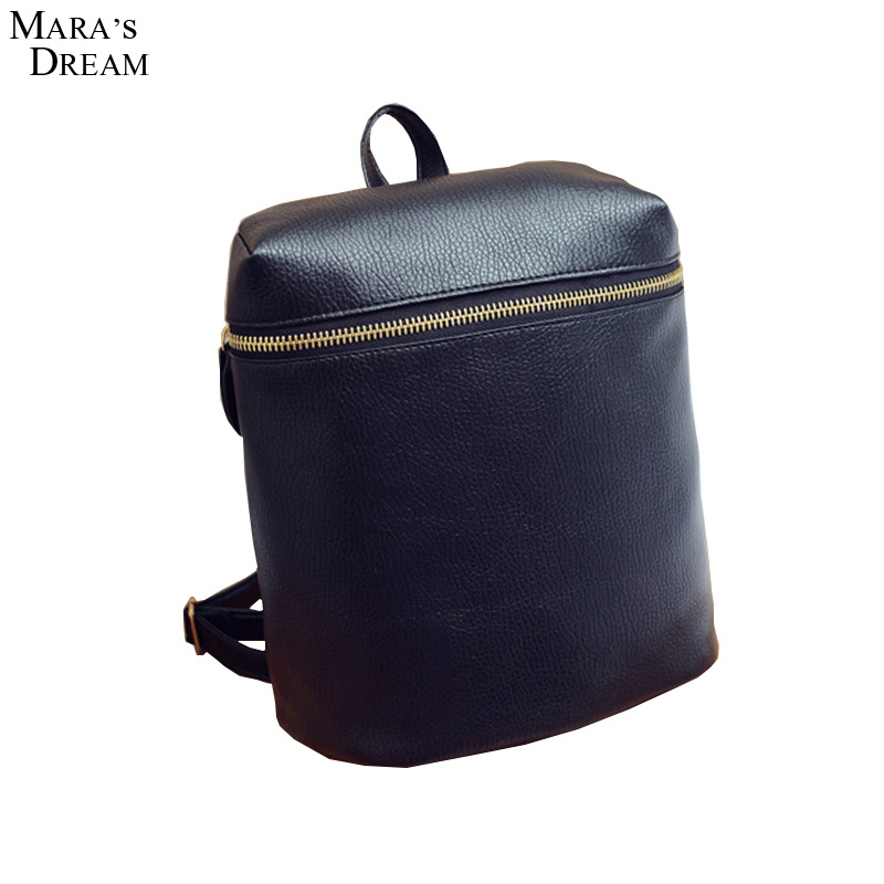Mara's Dream 2017 Casual Small Solid Rucksack PU Leather Preppy Style Tote Black White Metal Zipper Women Bags School Backpack(China (Mainland))