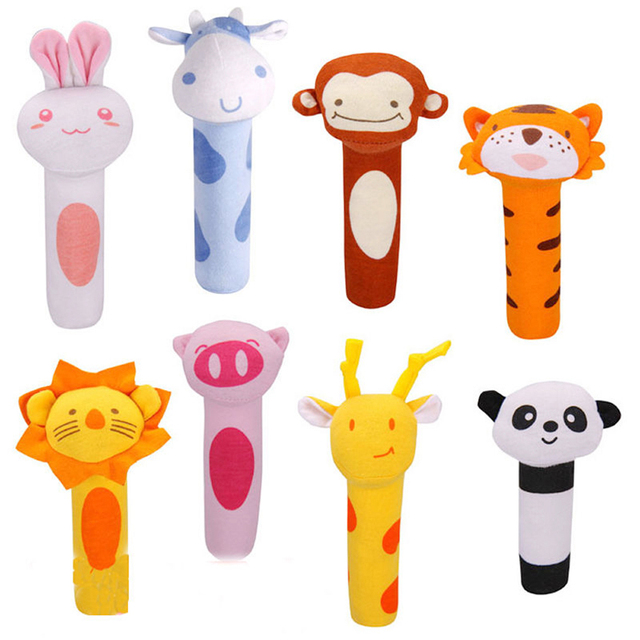 Hot Sale 5 Styles Baby Rattle Toy Animal Design  Baby kids Plush Toys Educational Baby Rattle Toys For Newborn