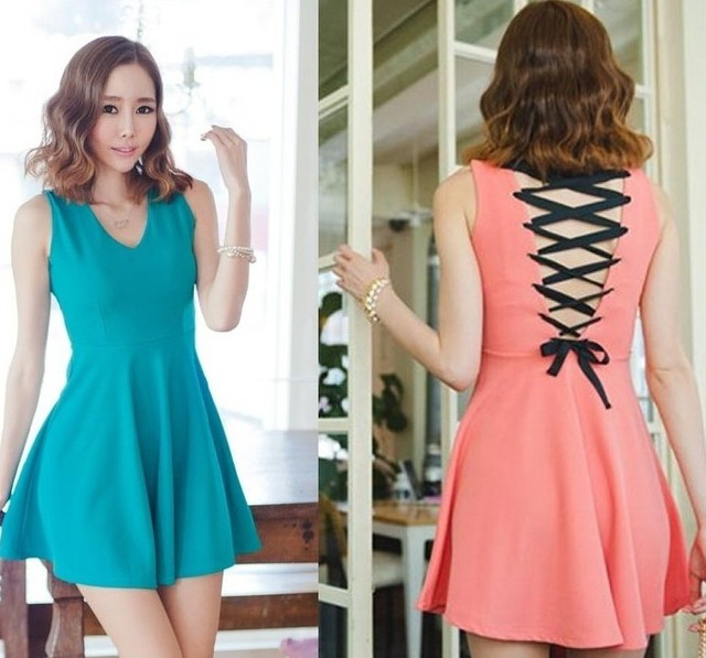 Summer women's 2013 back strap one-piece dress solid color racerback tank dress free ship dropship