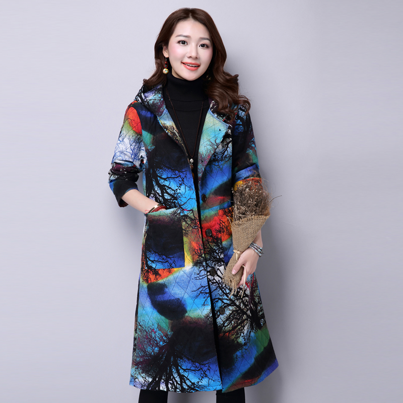 2015 new autumn winters hooded and long sleeved plus size 3XL women s cotton linen cotton