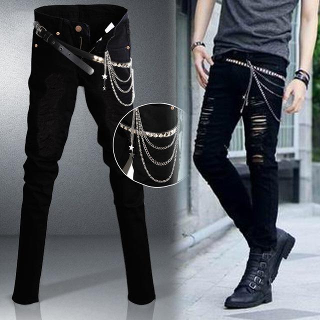 Большой размер 27-36 мужчины панк черные джинсы отверстие тонкий джинсы Fahion нанесенный ...