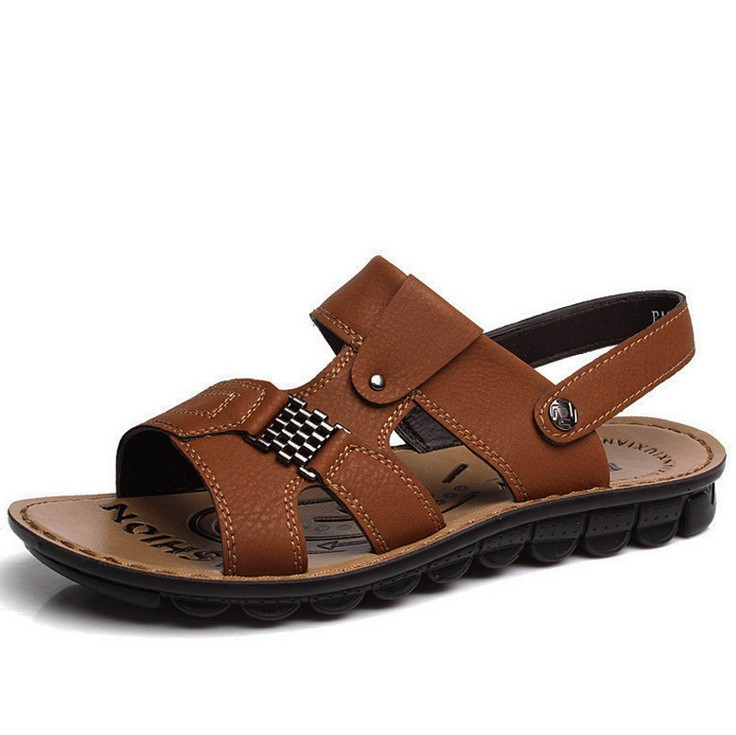 Factory direct breathable men's leather Slides men platform sandals summer slippers Men shoes - Online Store 923589 store