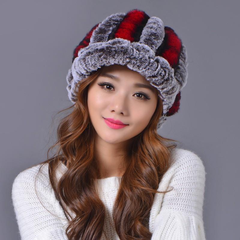 2016 Hat Fashion Warm Skullies Beanies Female Cap Fur Caps Fur Hat For Women Winter Gorros Mujer Invitervno Winter Women