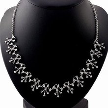 LUXURY WOMEN'S 28 CT ROUND BRILLIANT CUT GRADE AAA CZ DIAMONDS BRIDAL JEWELRY SET (1 PC NECKLACE & 1 PAIR EARRING), (110627-02)(China (Mainland))