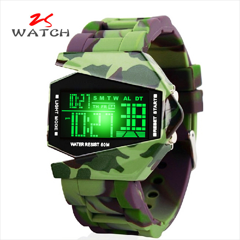2015 On Sale Personality Originality Camouflage Surface Man Waterproof LED Wrist Men And Women Electronic Watch Jelly Silica Gel(China (Mainland))